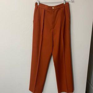 YSL orange pleated vintage high waist  pants 42